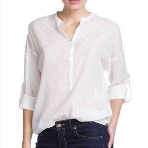 Jacquard Blouse White Cotton Blend Shirt Mango NWT
